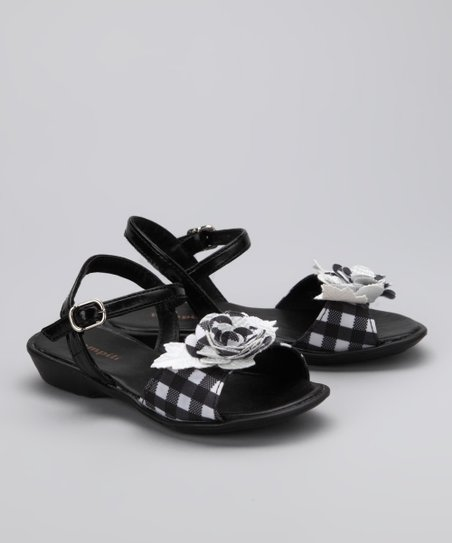 Black & White Gingham Rose Sandal