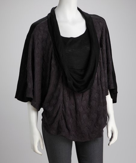 Pewter Pop-Over Textured Layered Top