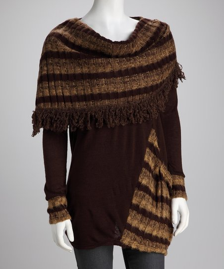 Panitti Brown Stripe Scarf Top