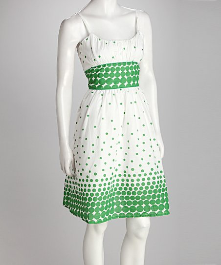 White &amp; Green Polka Dot Dress