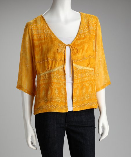 Yellow Three-Quarter Sleeve Cardigan