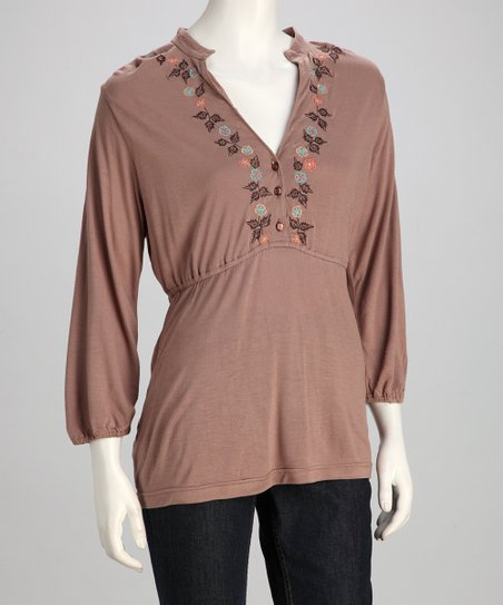 Brown Embroidered Top