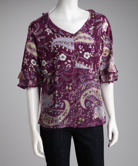 Purple Paisley Button-Up Ruffle Top