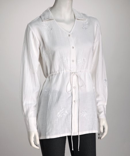 White Linen-Blend Button-Up