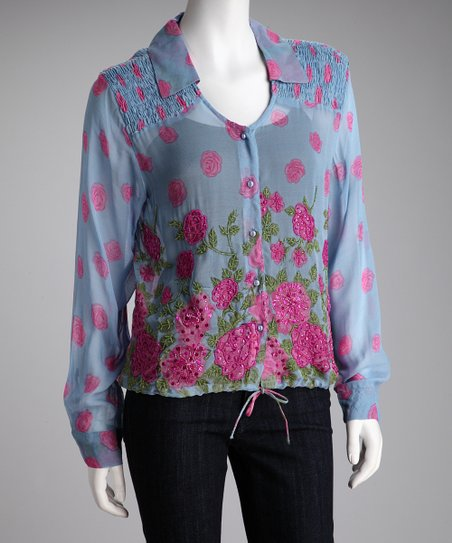 Blue Floral Sheer Long-Sleeve Top