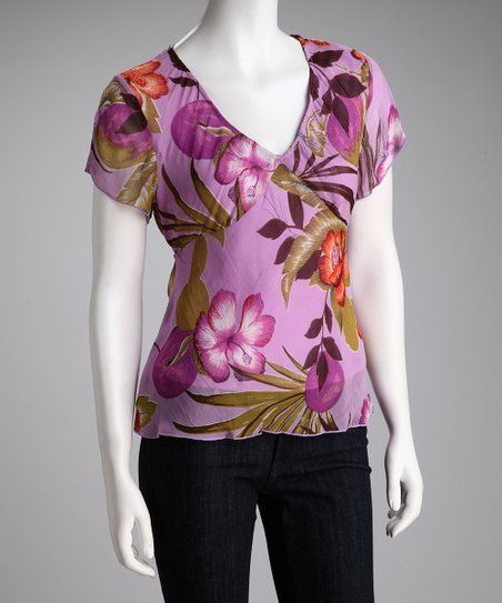 Purple Hibiscus V-Neck Top