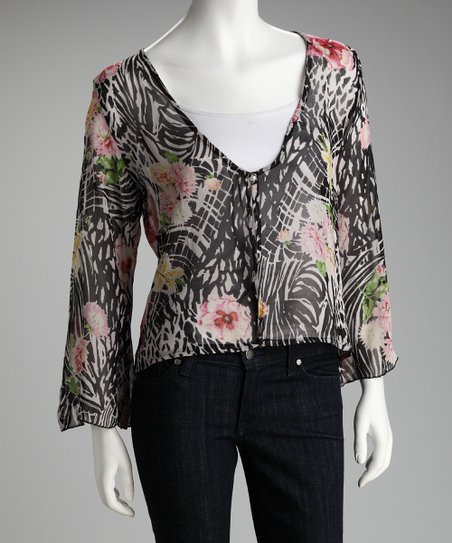 Black & White Floral Sheer Chiffon Cardigan