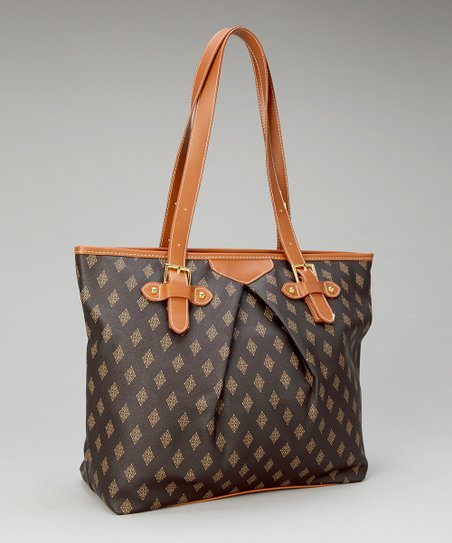 Brown Diamond Edition Buckle Strap Tote