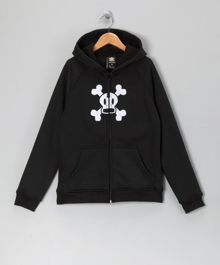 Black Skull & Crossbones Fleece Zip-Up Hoodie
