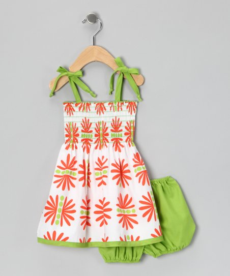 Lime & Orange Daisy Smocked Dress - Infant, Toddler & Girls