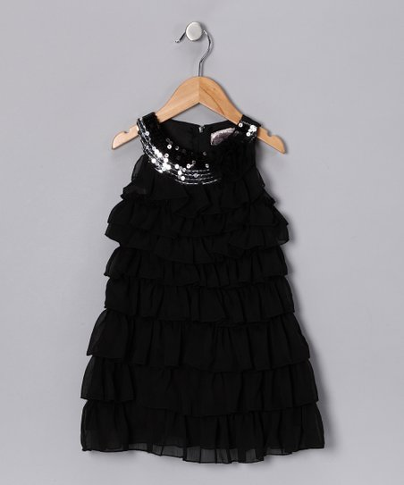 Black Sequin Ruffle Dress - Toddler