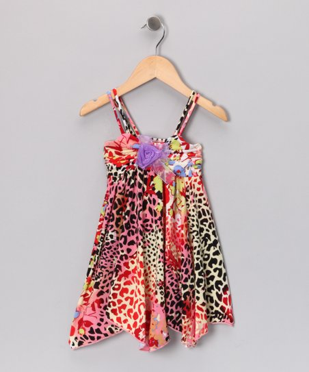 Coral & Purple Leopard Dress - Toddler