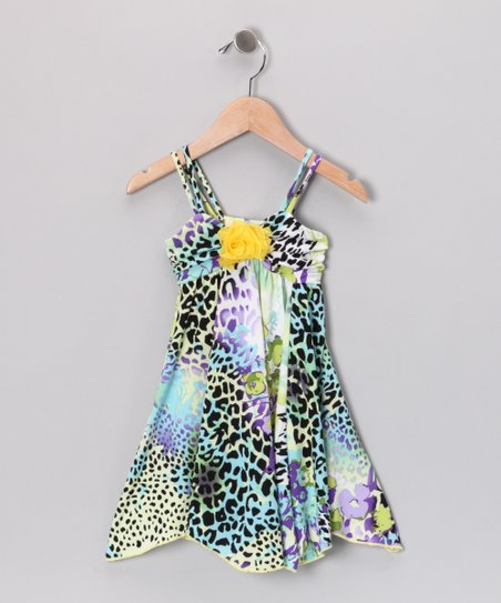 Lime & Yellow Leopard Dress - Toddler