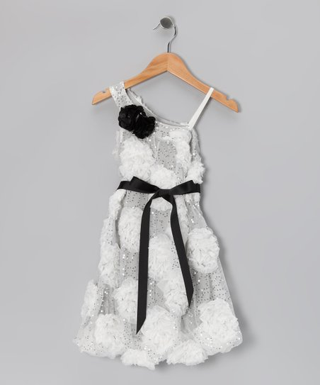 White & Black Sequin Floral Dress - Girls