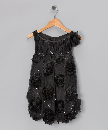 Black Sequin Floral Bubble Dress - Girls