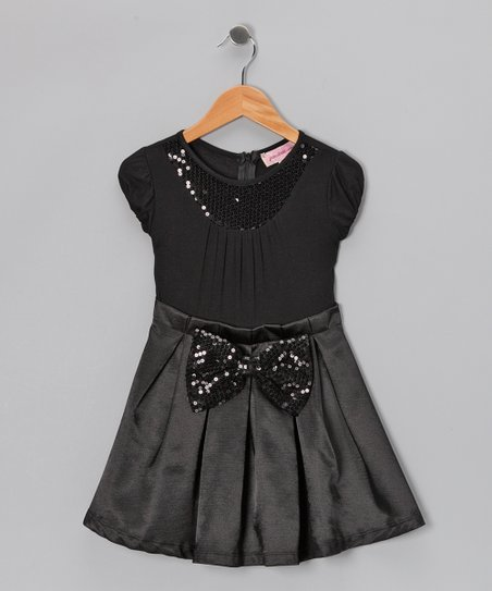Black Sequin Collar Pleated Dress - Girls