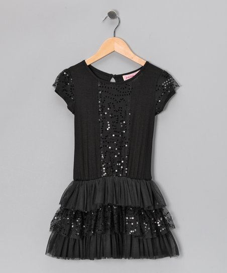 Black Sequin Ruffle Drop-Waist Dress - Girls