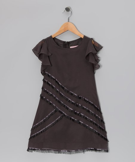 Charcoal Ruffle-Sleeve Dress - Girls