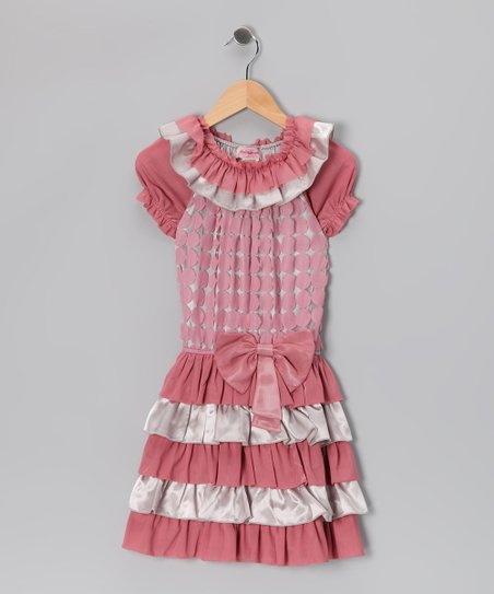 Mauve Polka Dot Tiered Dress - Girls