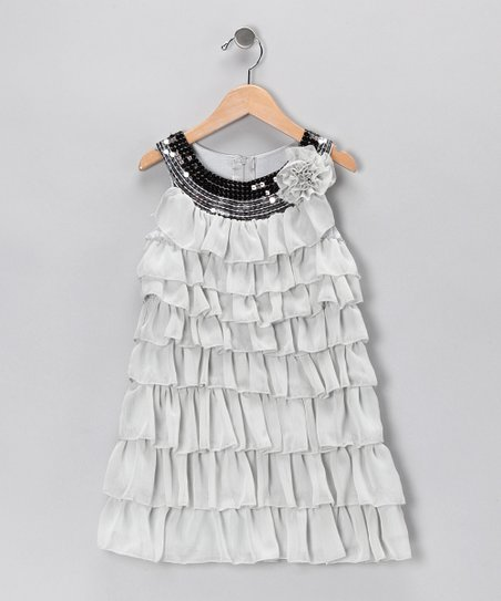 Gray Sequin Ruffle Dress - Toddler