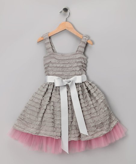 Gray Ruffle Dress - Toddler & Girls