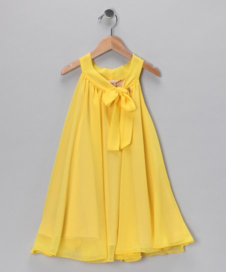Yellow Bow Yoke Dress - Toddler