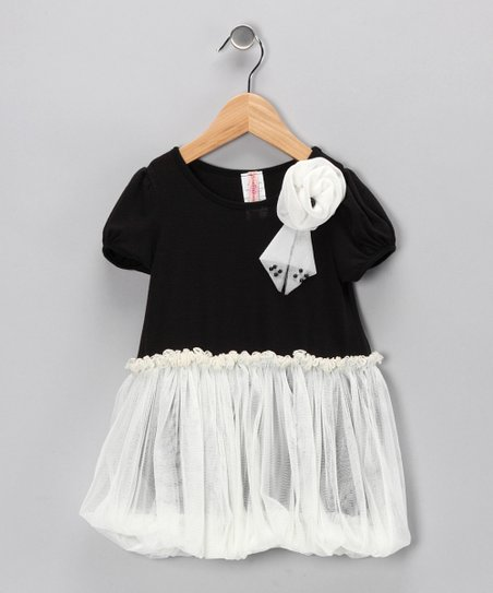 Black & White Bubble Dress - Girls