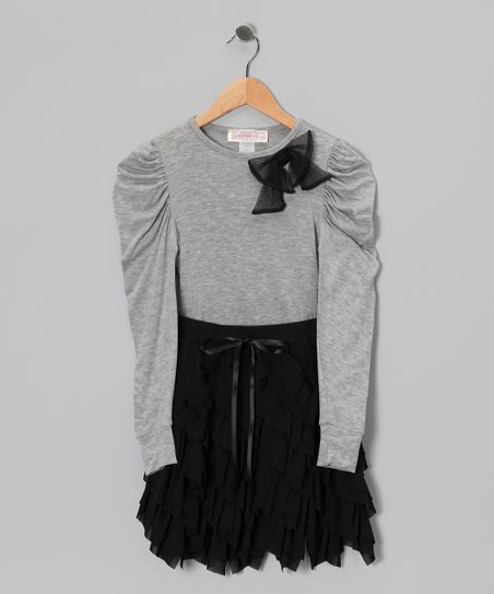 Black & Gray Dovetail Top & Handkerchief Skirt - Girls