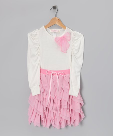 Dusty Rose Sidetail Top & Handkerchief Skirt - Girls