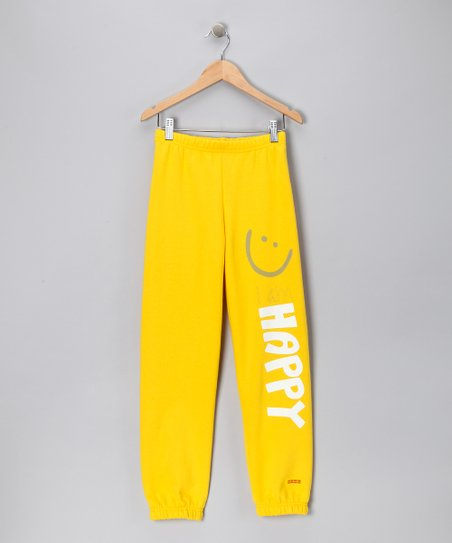 Yellow 'Happy' Sweatpants - Kids