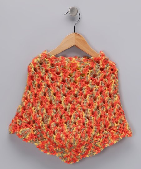 Orange Crocheted Poncho - Toddler & Girls