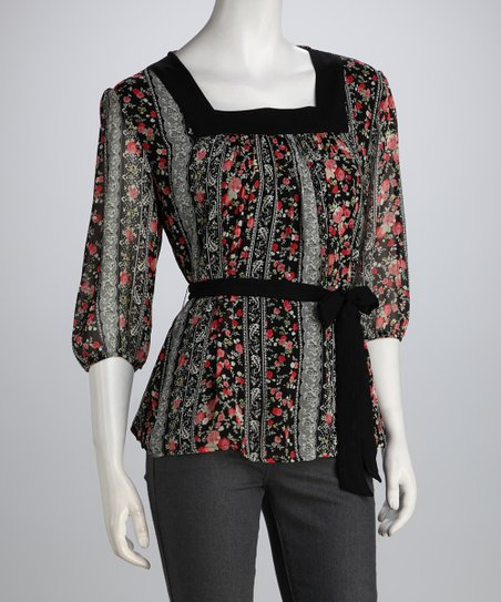 Black & Red Rose Square Neck Top