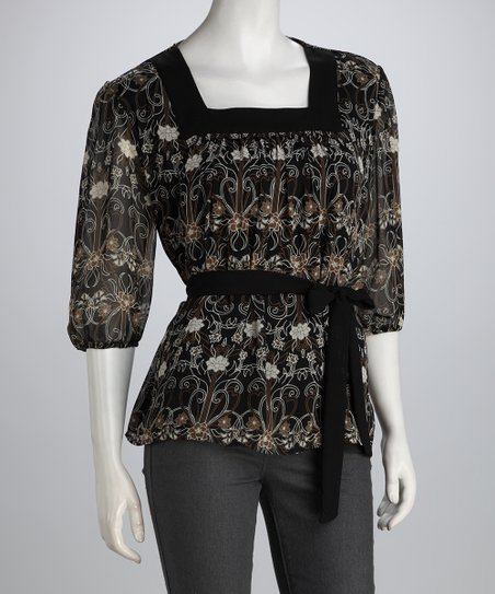 Black & Olive Floral Filigree Square Neck Top