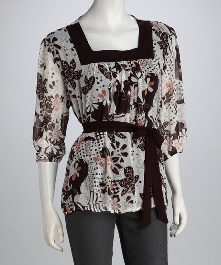 Brown & Beige Blossom Square Neck Top