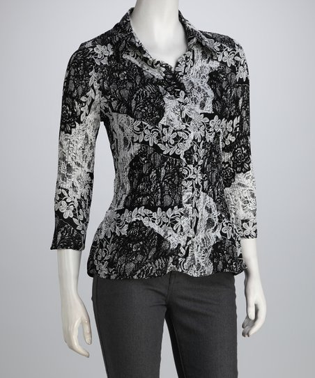 Black & White Floral Lace Ruffle Button-Up