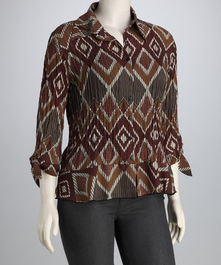 Brown & Gray Tribal Textured Button-Up
