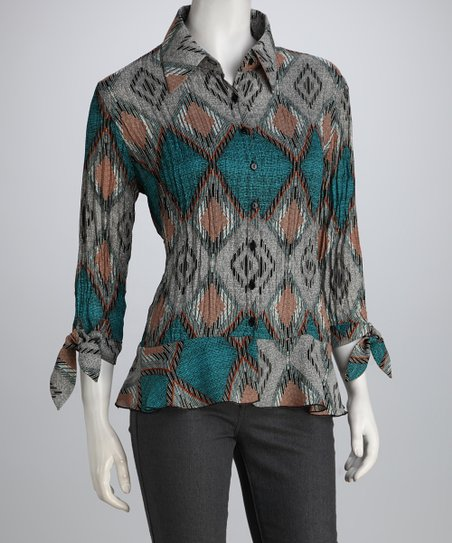 Blue & Gray Tribal Textured Button-Up