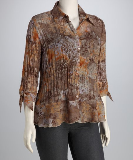 Orange &amp; Brown Filigree Textured Button-Up