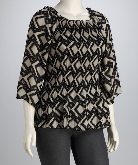 Ivory & Black Geo Pleated Top