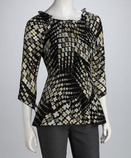 Black & Yellow Blossom Pleated Top