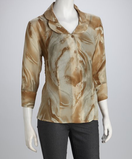 Brown & Natural Swirl Double Collar Button-Up