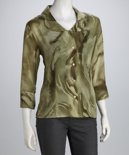 Olive & Sage Swirl Double Collar Button-Up