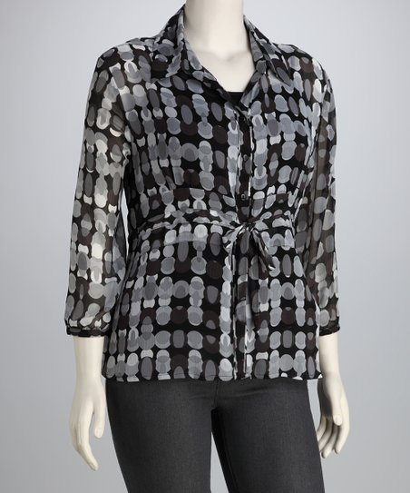 Black &amp; Gray Abstract Dot Tie Button-Up