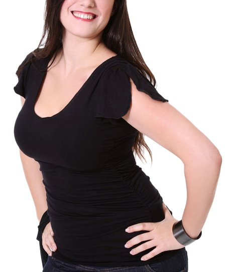 Black Maternity &amp; Nursing Split-Sleeve Top - Women