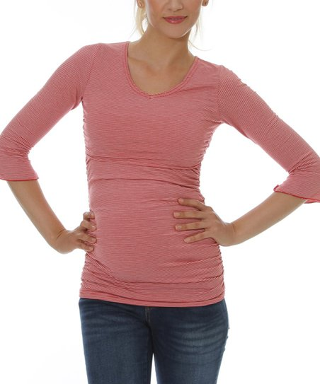 Red Stripe Maternity &amp; Nursing V-Neck Top - Women