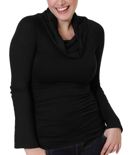 Black Maternity & Nursing Cowl Neck Top