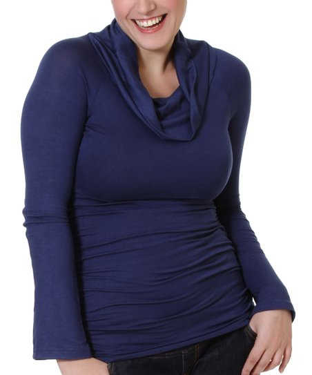 Navy Maternity &amp; Nursing Cowl Neck Top - Women