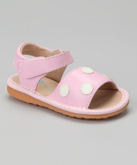 Peepers Pink &amp; White Polka Dot Squeaker Sandal