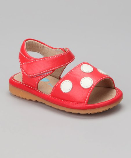 Red & White Polka Dot Squeaker Sandal