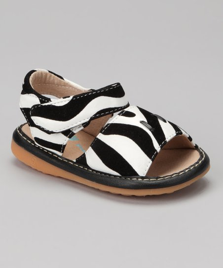 Black &amp; White Zebra Squeaker Sandal